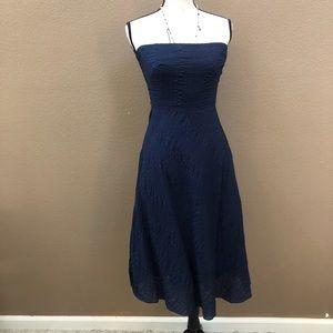 Jcrew navy blue strapless midi dress Sz 4